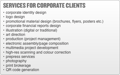 services for corporate clients •	corporate identity design •	lo